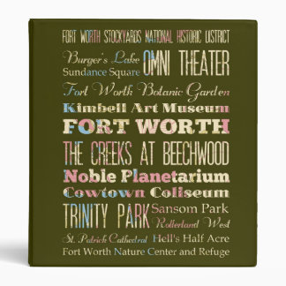 Attractions & Famous Places of Fort Worth, Texas. 3 Ring Binder