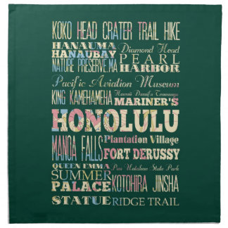 Attractions & Famous Places of Honolulu, Hawaii. Cloth Napkin