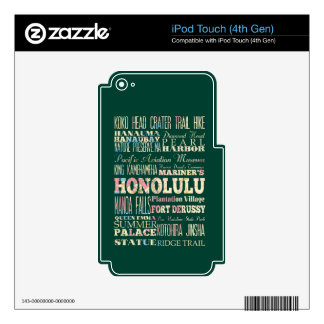 Attractions & Famous Places of Honolulu, Hawaii. iPod Touch 4G Decal