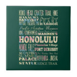 Attractions & Famous Places of Honolulu, Hawaii. Tile