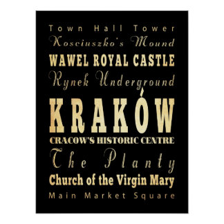 Attractions & Famous Places of Krakow, Poland Poster