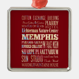 Attractions & Famous Places of Memphis, Tennessee. Christmas Ornament