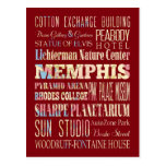 Attractions & Famous Places of Memphis, Tennessee. Post Card