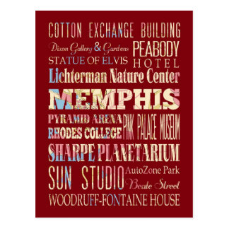 Attractions & Famous Places of Memphis, Tennessee. Postcard