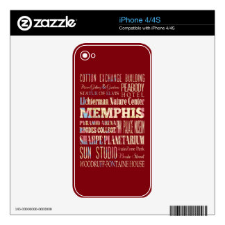 Attractions & Famous Places of Memphis, Tennessee. Skin For The iPhone 4