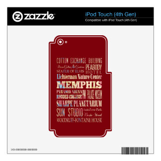Attractions & Famous Places of Memphis, Tennessee. Decals For iPod Touch 4G