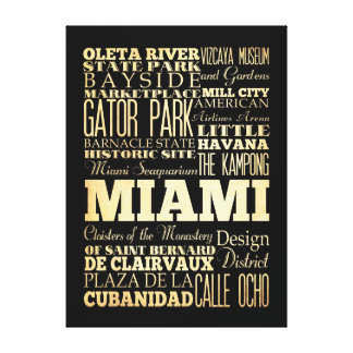 Attractions & Famous Places of  Miami, Florida Canvas Print