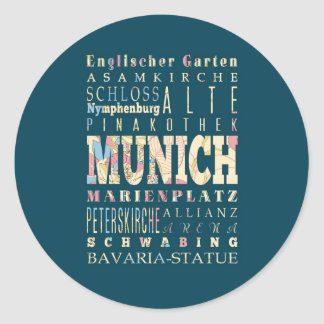 Attractions & Famous Places of Munich,Germany. Round Stickers