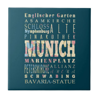 Attractions & Famous Places of Munich,Germany. Small Square Tile