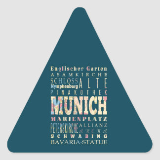 Attractions & Famous Places of Munich,Germany. Triangle Sticker
