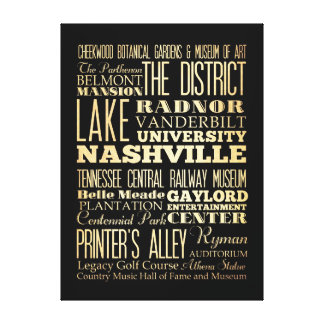 Attractions & Famous Places of Nashville,Tennessee Canvas Print