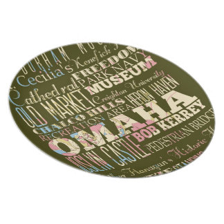 Attractions & Famous Places of Omaha, Nebaska. Dinner Plate