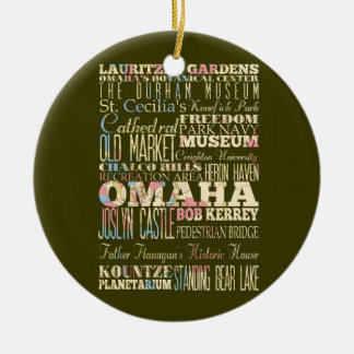Attractions & Famous Places of Omaha, Nebaska. Double-Sided Ceramic Round Christmas Ornament