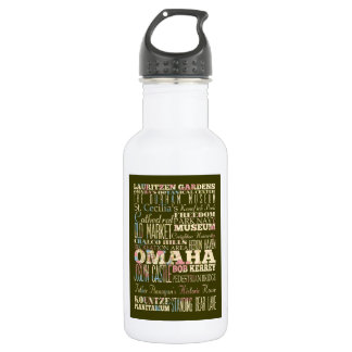 Attractions & Famous Places of Omaha, Nebaska. 18oz Water Bottle