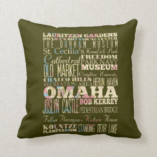 Attractions & Famous Places of Omaha, Nebaska. Throw Pillow