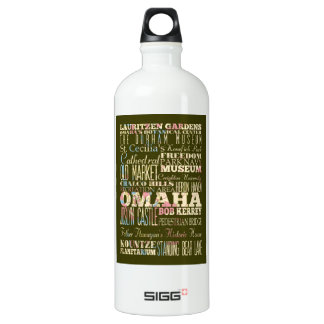 Attractions & Famous Places of Omaha, Nebaska. Water Bottle