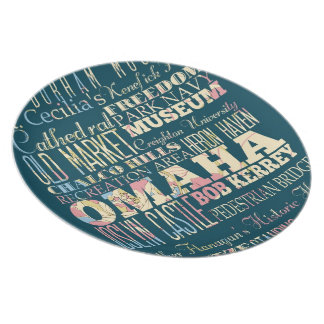 Attractions & Famous Places of Omaha, Nebraska. Melamine Plate