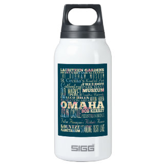 Attractions & Famous Places of Omaha, Nebraska. 10 Oz Insulated SIGG Thermos Water Bottle