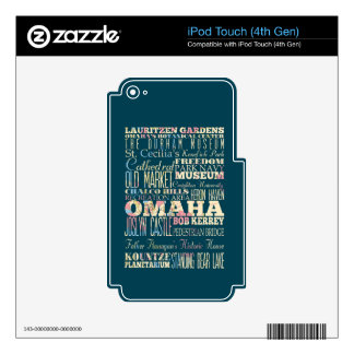 Attractions & Famous Places of Omaha, Nebraska. iPod Touch 4G Decal