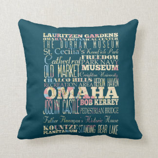 Attractions & Famous Places of Omaha, Nebraska. Throw Pillow