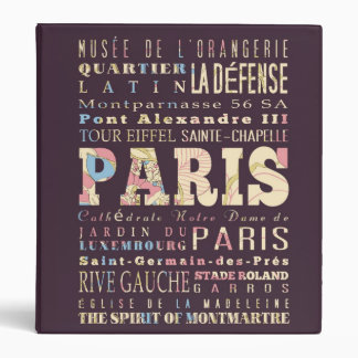 Attractions & Famous Places of Paris, France. 3 Ring Binder