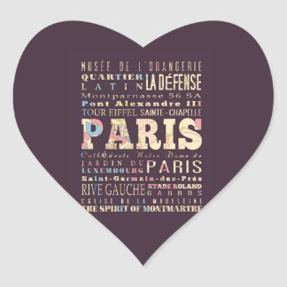 Attractions & Famous Places of Paris, France. Heart Sticker