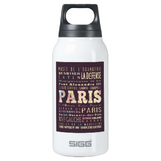 Attractions & Famous Places of Paris, France. 10 Oz Insulated SIGG Thermos Water Bottle