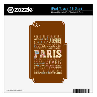Attractions & Famous Places of Paris, France. iPod Touch 4G Decal