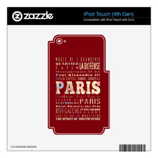 Attractions & Famous Places of Paris, France. Decal For iPod Touch 4G