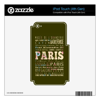 Attractions & Famous Places of Paris, France. iPod Touch 4G Decals