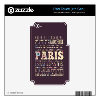 Attractions & Famous Places of Paris, France. Skins For iPod Touch 4G