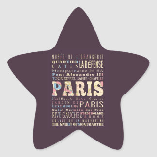Attractions & Famous Places of Paris, France. Star Stickers