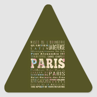Attractions & Famous Places of Paris, France. Triangle Sticker
