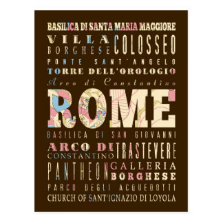 Attractions & Famous Places of Rome, Italy. Postcard