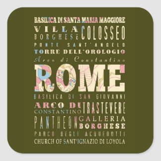Attractions & Famous Places of Rome, Italy. Sticker