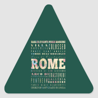 Attractions & Famous Places of Rome, Italy. Triangle Sticker