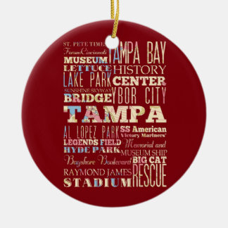 Attractions & Famous Places of Tampa, Florida. Double-Sided Ceramic Round Christmas Ornament