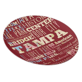 Attractions & Famous Places of Tampa, Florida. Plate