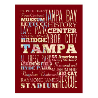 Attractions & Famous Places of Tampa, Florida. Postcard