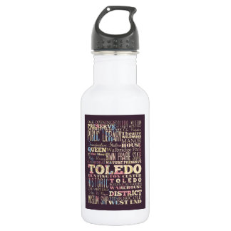 Attractions & Famous Places of Toledo, Ohio. 18oz Water Bottle