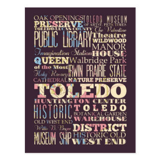 Attractions & Famous Places of Toledo, Ohio. Postcard