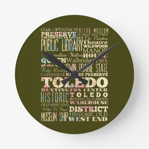 Attractions & Famous Places of Toledo, Ohio. Round Wall Clocks
