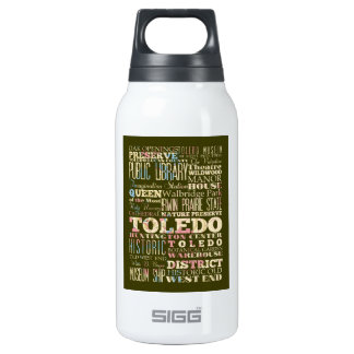 Attractions & Famous Places of Toledo, Ohio. 10 Oz Insulated SIGG Thermos Water Bottle