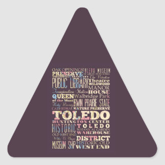 Attractions & Famous Places of Toledo, Ohio. Triangle Sticker