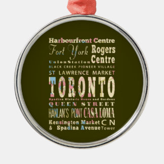 Attractions & Famous Places of Toronto, Canada. Round Metal Christmas Ornament
