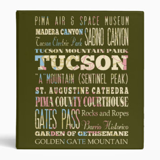 Attractions & Famous Places of Tucson,Arizona. 3 Ring Binder