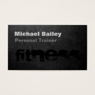 Attractive Black Gray Chalkboard Personal Trainer Business Card