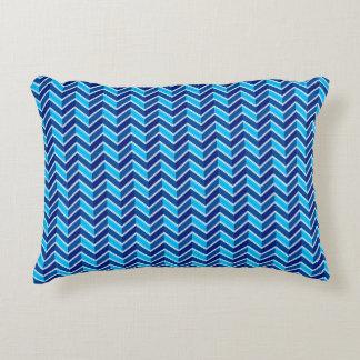 Attractive Blue Chevron Decorative Pillow