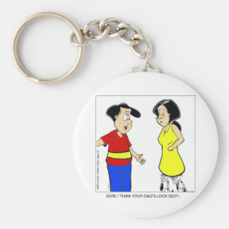 Attractive Calves? Funny Cartoon Tees & Gifts Keychain