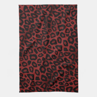 Attractive Dark Red Leopard Animal Print Hand Towels